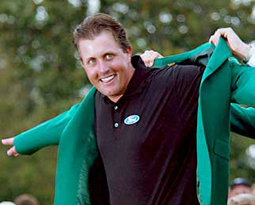 Mickelson takes his third green jacket at Augusta 2010 Masters